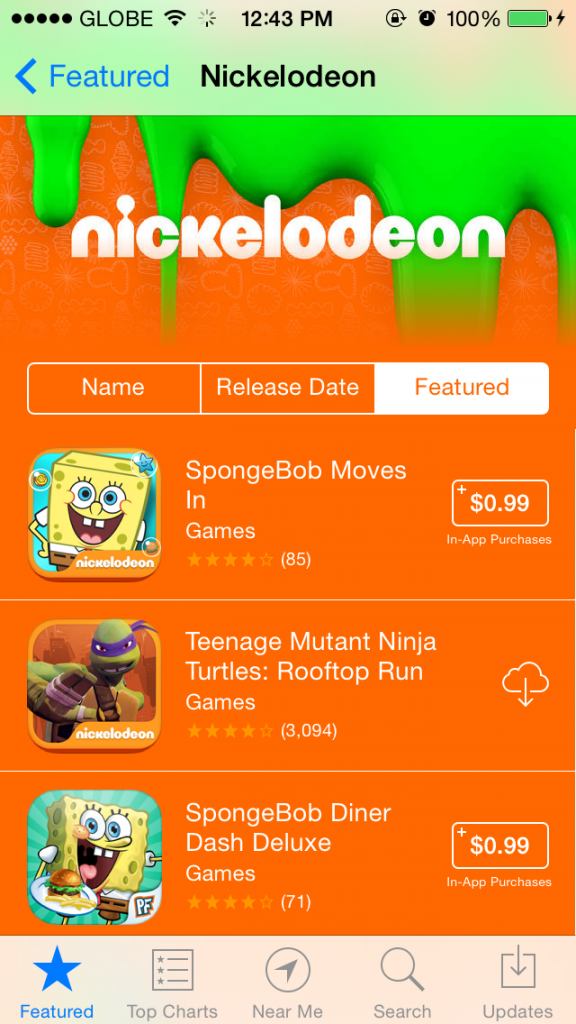 Apple features Nickelodeon apps and games on $0.99 sale on the App Store