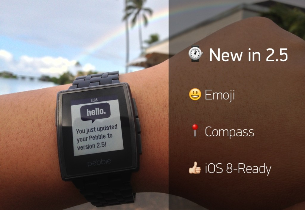 Pebble smart watch firmware update brings support for iOS 8, emoji and compass