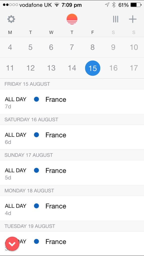 Sunrise Calendar running on an iPhone 6 Plus.