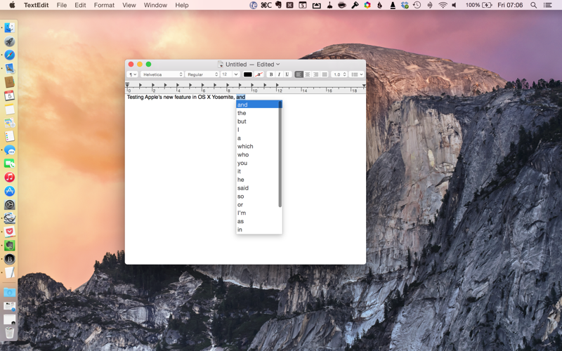 OS X Yosemite now includes a QuickType-style feature