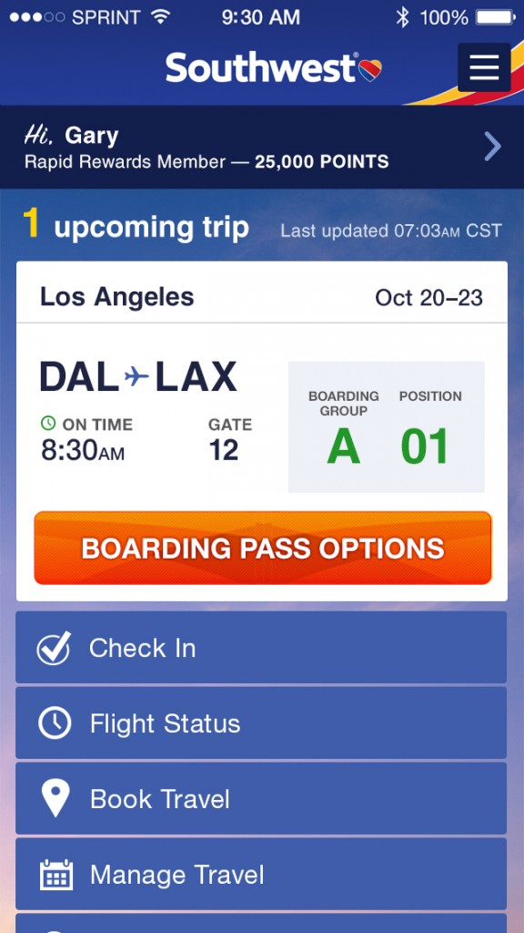 Southwest Airlines updates its official iOS app in line with its 'hearty' new look