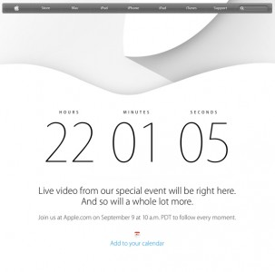 Apple's home page now features a countdown to tomorrow's special event