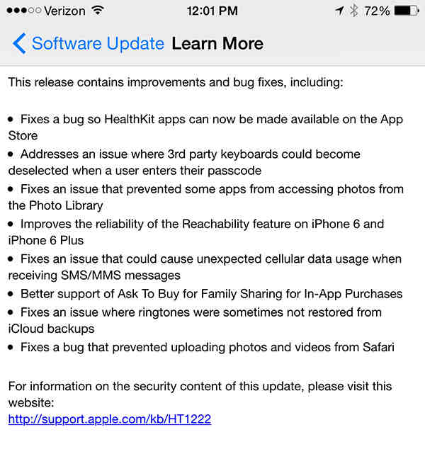 Apple posts steps for fixing iOS 8.0.1 issues on iPhone 6 and iPhone 6 Plus