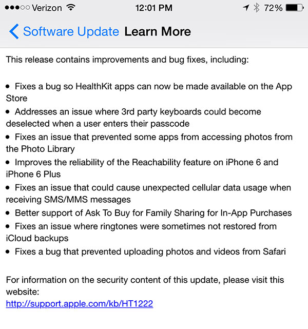 iOS 8.0.1: Major fail