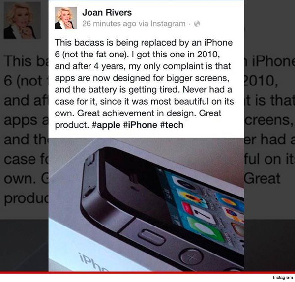 Joan Rivers returns from the grave to promote the iPhone 6 on launch day