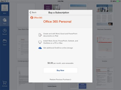 Microsoft's Office suite for the iPad now supports monthly in-app subscriptions