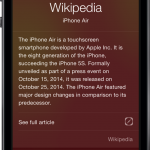 Ask Siri about the new 'iPhone Air' and you'll see its Wikipedia page