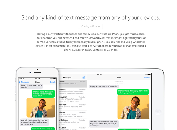 Apple confirms SMS Continuity feature in iOS 8 won't arrive until October