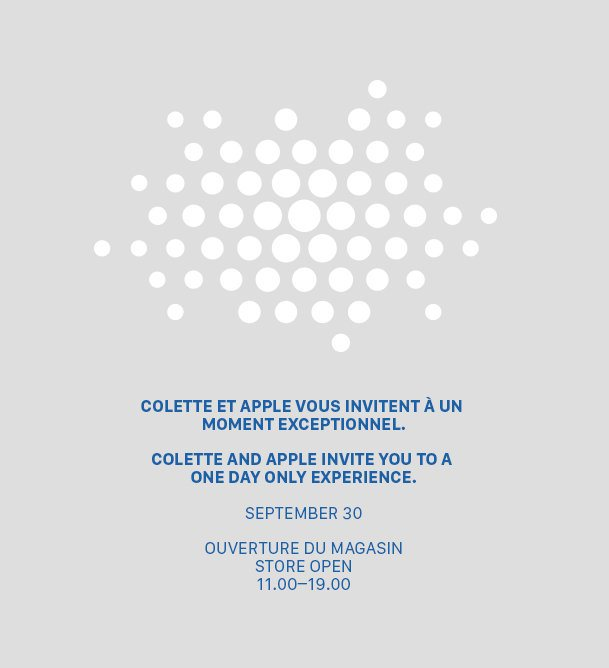 Fashion retailer Colette and Apple are planning a 'one day only experience' on Sept. 30