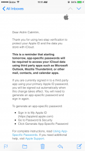 Apple's email regarding app-specific passwords.