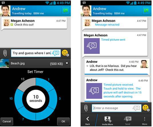 BBM takes on Snapchat with new timer and message retraction features