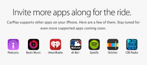 Spotify is one of the apps integrated with CarPlay.