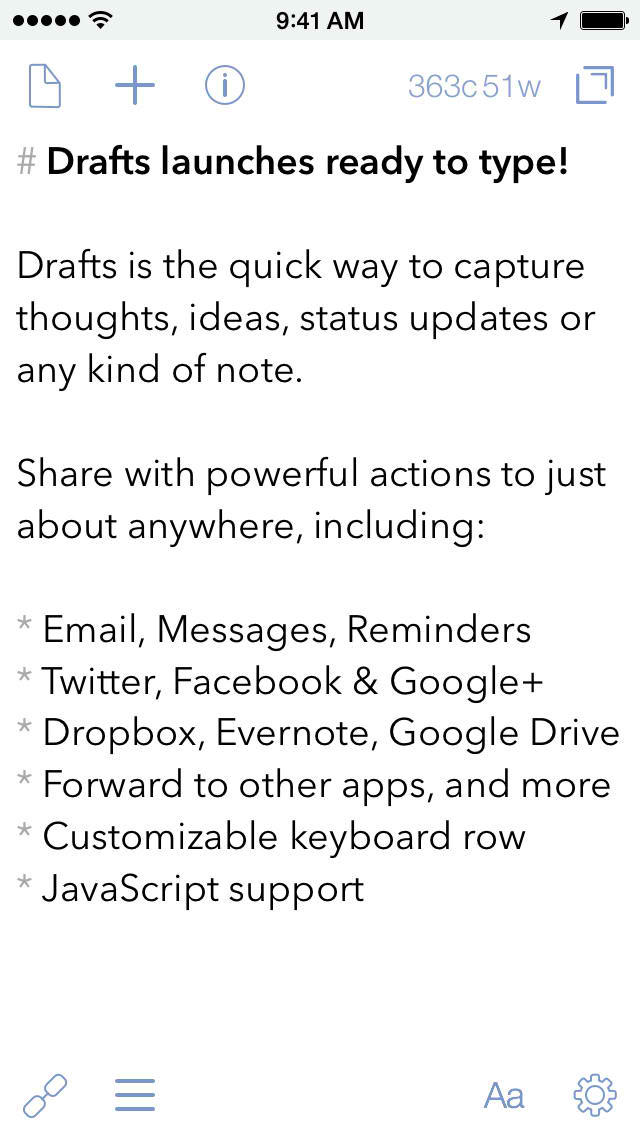 Drafts 4, the latest and greatest version of Agile Tortoise's text capture app, is out now on iOS