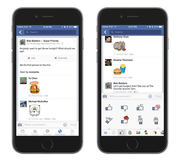 Who needs words when Facebook now lets you comment with stickers?
