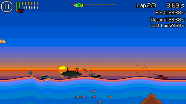 Show off your combat boat racing skills in the frantic arcade action of Pixel Boat Rush