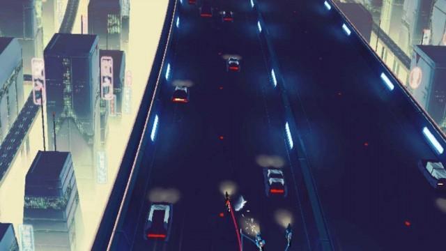 Hover-bike in high speed and slash corporate mercenaries in Vektor for iOS