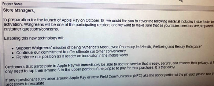 Walgreens internal memo indicates Oct. 18 launch for Apple Pay