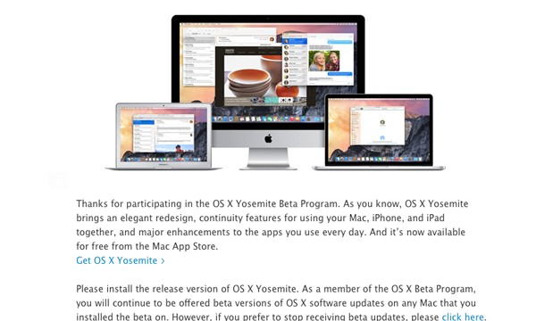 After launching OS X Yosemite, Apple announces the Public Beta program will continue