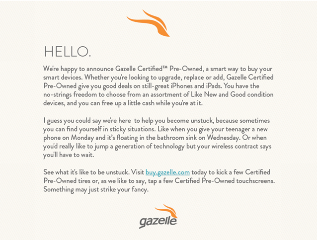 Welcome email from Gazelle