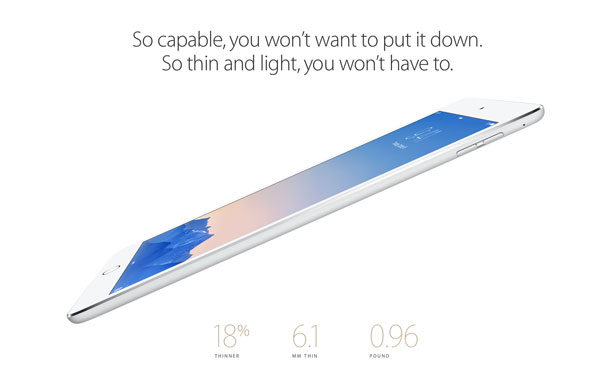 The iPad Air 2 does indeed sport 2GB of RAM along with a triple-core A8X processor