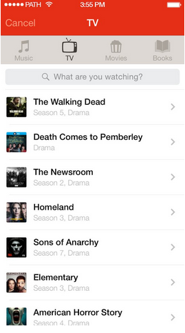 You can now share your TV moments with your friends on Path and Path Talk