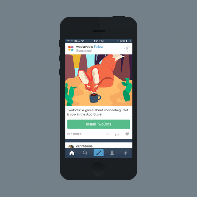 Tumblr rolling out post-like app install ads in its official mobile apps