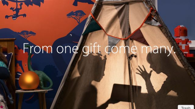 An odd mix of photographs welcome customers to Apple's holiday-themed online store