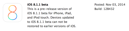 Apple begins seeding first developer beta of iOS 8.1.1