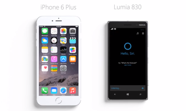 Microsoft's new Cortana ad says Siri 'just got bigger' on iPhone 6 Plus