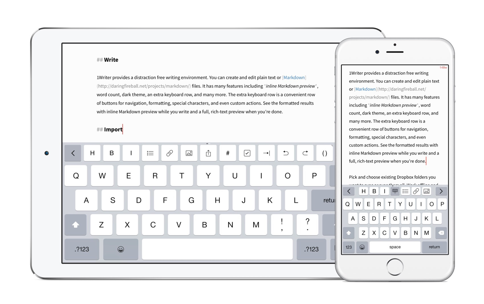 Version 2.0 of 1Writer features iOS 8 optimizations, iPhone 6 support and more