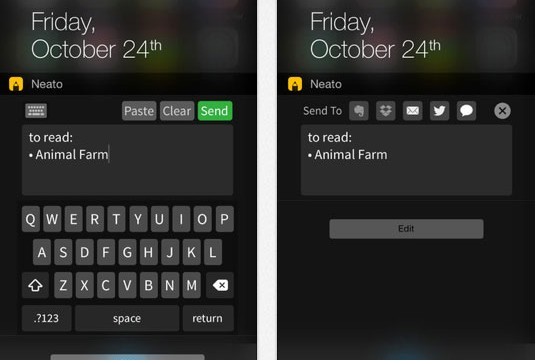 Neato allows you to save a note in Dropbox or Evernote directly from a Notification Center widget