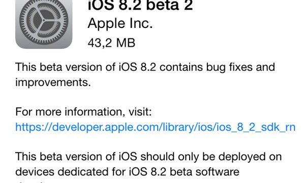 Registered Apple developers can now download iOS 8.2 beta 2