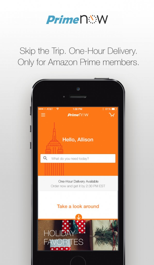 Amazon Prime Now for iOS offers one-hour delivery of daily essentials and gift items
