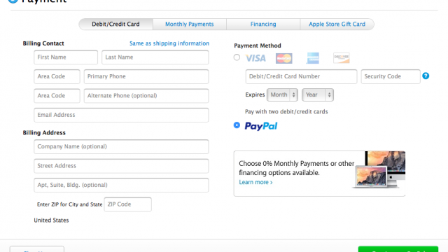 Apple now offers PayPal as checkout option on its US and UK online stores