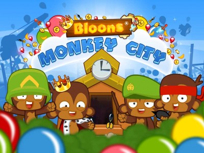 Pop 'bloons' to build a monkey metropolis in Ninja Kiwi's Bloons Monkey City