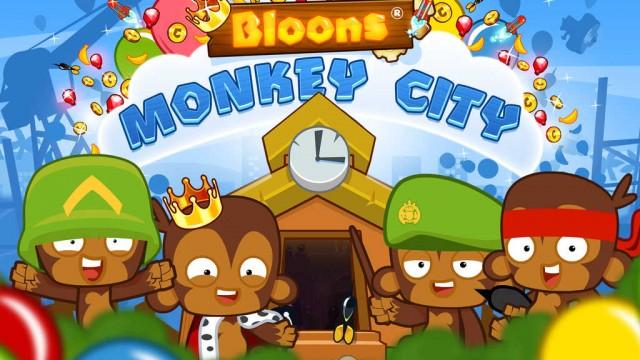 Pop 'bloons' to build a monkey metropolis in Ninja Kiwi's Bloons Monkey City