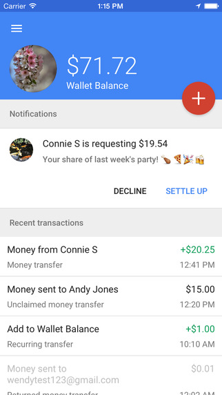 Google Wallet updated with Material Design, charge splitting and Touch ID support