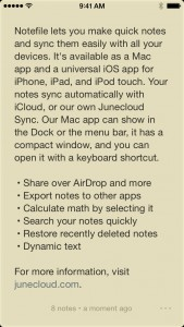 Junecloud's Notefile notepad app updated for iOS 8 and OS X Yosemite
