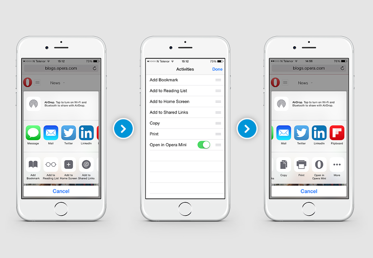 Opera Mini Web browser updated with support for share extensions in iOS 8