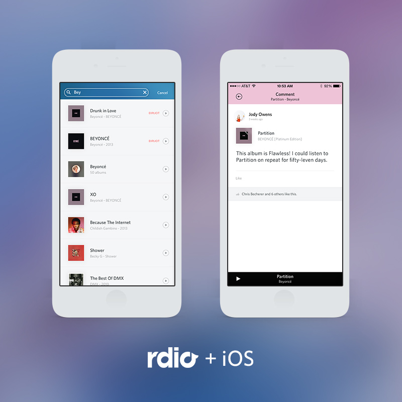 Rdio for iOS updated with new search, playback and social features