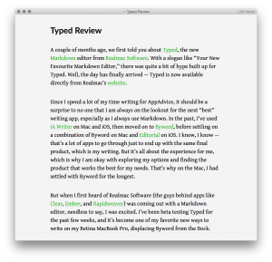 Typed's Markdown preview mode.