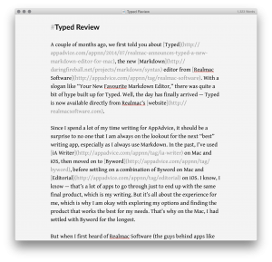 Typed has a very minimal design to help you focus on writing.