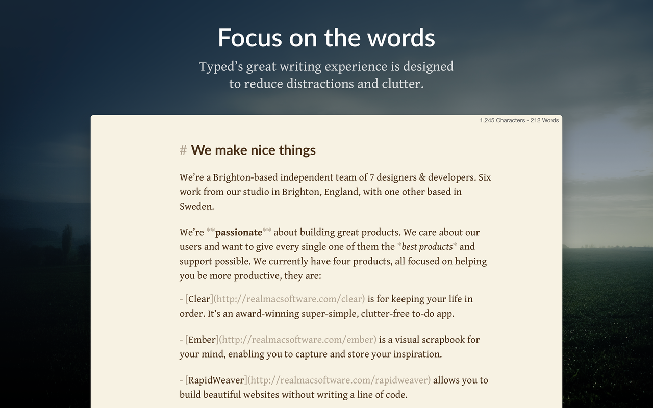 Realmac Software's Typed, a new Markdown editor for Mac, is now available