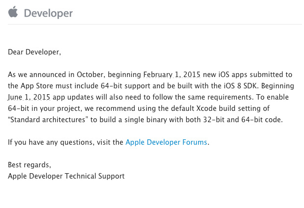 App updates submitted from June 2015 on must offer 64-bit support, be built with the iOS 8 SDK