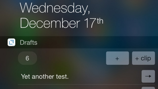 Another Drafts 4 update brings back the iOS 8 Notification Center widget