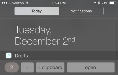 Apple takes aim at the iOS 8 Notification Center widget from popular text capture app Drafts 4