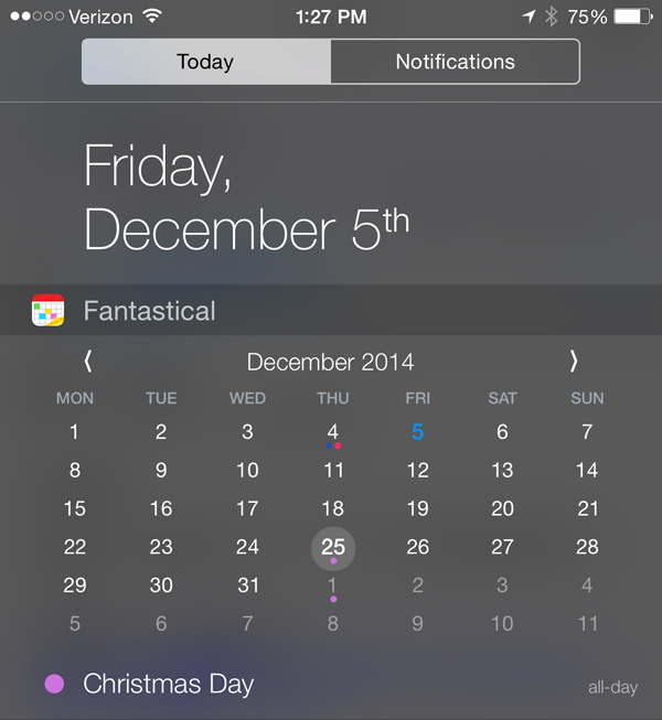 Fantastical 2 for iPhone updated with a new feature to the Notification Center widget