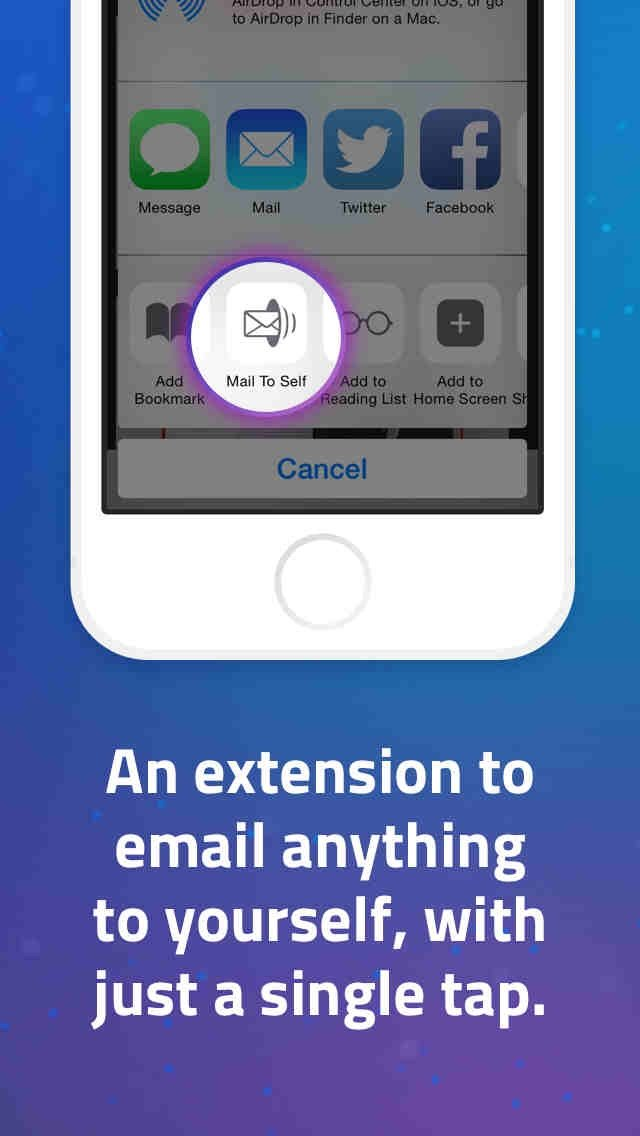 Mail to Self is an iOS 8 extension for quickly and easily emailing notes to yourself