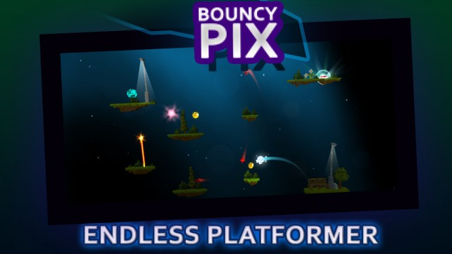 Jump infinitely to get your top score in BouncyPix, an endless platformer game