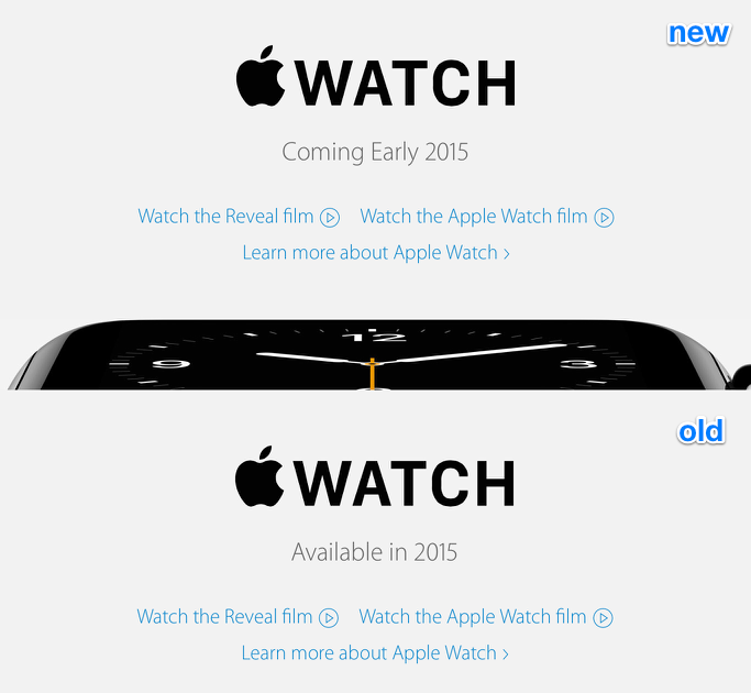 "Apple Watch now ""coming early 2015"" to Europe"